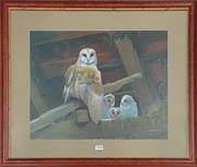 Sale 8941 - Lot 2072 - Kenneth Smith Barn Owl and Chicks chromolithograph, framed. H: 56, W: 66cm