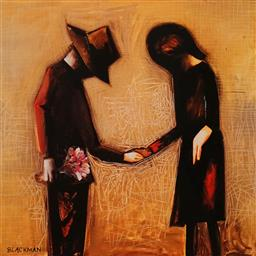Sale 9080A - Lot 5046 - Charles Blackman (1928 - 2018) - The Meeting 28 x 28.5 cm (frame: 42 x 40 cm)