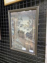 Sale 9041 - Lot 2018 - Japanese School, Night time arrival of a Pilgrim at a  Monastery,  colour woodblock cut, frame: 28 x 20 cm,