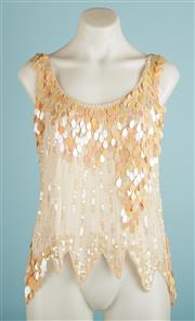 Sale 9071F - Lot 66 - A RETRO IRIDESCENT PAILLETTE SEQUIN TOP; with jaggered edge, size S