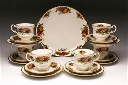 Sale 9110 - Lot 7 - Set of 6 English garden Staffordshire trios together with a old Country Roses Cake dish