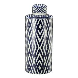 Sale 9140F - Lot 43 - A cylindrical lidded jar crafted from durable Porcelain, glazed in a soft white and deep blue geometric pattern. Dimensions: W18 x D...