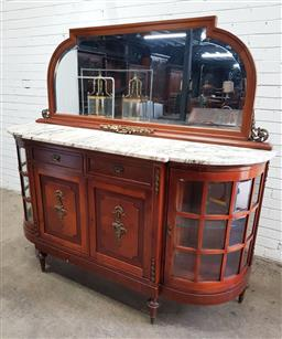 Sale 9142 - Lot 1002 - Early 20th Century French Walnut Sideboard, with gilt brass mounts, the shaped mirror above a white D shaped marble top, with two...