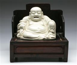 Sale 9156 - Lot 44 - A blanc de chine on rosewood chair (28cm x 28cm x 25cm)