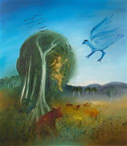 Sale 9199J - Lot 7 - David Boyd - Europa in Landscape 80cm x 70cm