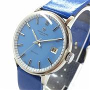 Sale 8362A - Lot 14 - A vintage mens Favre Leuba mechanical wind wristwatch with pale blue dial with date, case size: 37 mm