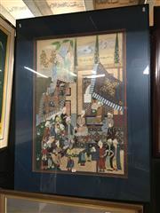 Sale 8720 - Lot 2091 - Indo Persian School - Court Scene gouache on silk,  86 x 115cm (frame)