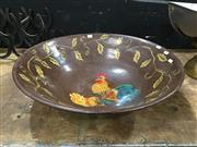Sale 8851 - Lot 1007 - Large Hand Painted Rooster Bowl