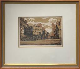 Sale 9106 - Lot 2047 - Alfred Warner Loading Wool, linocut, ed. 63/100, frame: 38 x 43 cm, signed lower right -