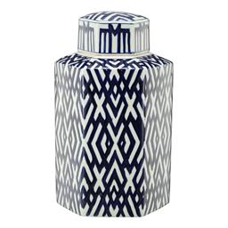 Sale 9140F - Lot 44 - A hexagonal lidded jar crafted from durable Porcelain, glazed in a soft white and deep blue geometric pattern. Dimensions: W24 x D22...
