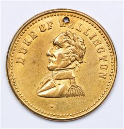 Sale 9144 - Lot 59 - A 19th century gilt metal Duke Of Wellington commemorative Medallion - converted to pendant