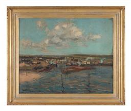 Sale 9245J - Lot 24 - Will Ashton - Boats on Harbour signed lower left