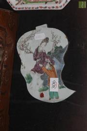 Sale 8285 - Lot 29 - 19th Century Porcelain Leaf Shaped Plaque Depicting Lovers
