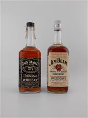 Sale 8498 - Lot 2005 - 2x Old Bourbons - 1x Jack Daniels Old No.7 Tennessse Whiskey, 1x Jim Beam Kentucky Straight Whiskey