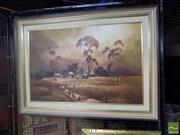 Sale 8483 - Lot 2084 - Joe Huber (1930 - ) - Sepia Landscape, oil on canvas board, 59 x 90cm, signed lower right