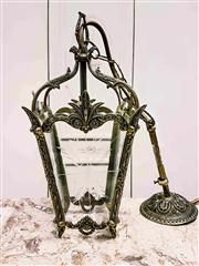 Sale 8577 - Lot 2 - A vintage brass lantern, with etched glass and decorative brass frame with original ceiling canopy, has been rewired to Australian S...