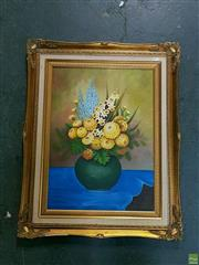 Sale 8582 - Lot 2081 - B.Seidel Still Life with Flowers, Oil on Board, unsigned