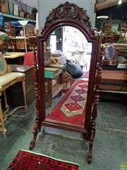 Sale 8601 - Lot 1153 - Ornately Carved Timber Cheval Mirror (H: 170cm)