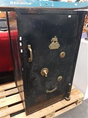 Sale 8723 - Lot 1020 - Victorian Midlands Safe Co Painted Safe (key in office)