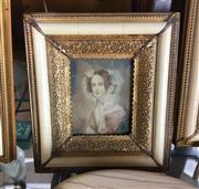 Sale 8730B - Lot 41 - Ornate Metal & Ivory Framed Handpainted Miniature depicting a Lady L:17cm