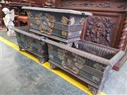 Sale 8774 - Lot 1100 - Three 19th Century Style Cast Iron and Parcel Gilt Rectangular Plant Troughs, with fluted bodies and medallions with ivy wreaths, ra...