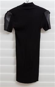 Sale 8902H - Lot 158 - A short sleeved woollen knit with leather trim to sleeves, size 10