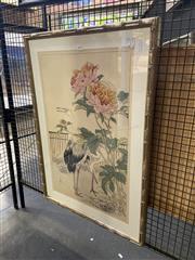 Sale 8932 - Lot 2039 - Framed Oriental Print of Dancing Cranes