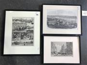Sale 8964 - Lot 2083 - Pair of Wood Engravings General View of Sydney; Pitt Street, plus a hand-coloured print The Australian Wool-Industry: Scenes on a...