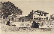 Sale 9021 - Lot 589 - Lionel Lindsay (1874 - 1961) - Fort Dawes, Sydney, 1913 10.5 x 16 cm (sheet: 15 x 20 cm)