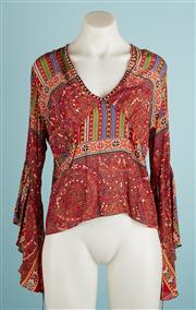 Sale 9071F - Lot 7 - A RUSTY RED SILK TOP; with beads decorated neckline size 8