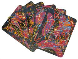 Sale 9093A - Lot 5057 - Evan Mackley (1940 - 2019) - Set of Six Mackaware Placemats & Coasters placemats: 22 x 29cm; coasters: 11.5 x 9.5cm