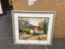 Sale 9111 - Lot 2042 - Agnes Watson Australian Landscape with Homestead, Cattai oil on board, frame: 54 x 62 cm, signed lower