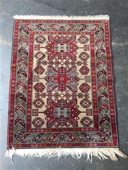Sale 9137 - Lot 1015 - Red and cream tone machine made carpet (117 x 89cm)