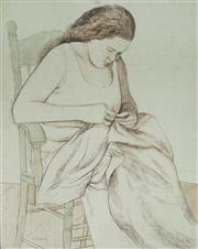 Sale 8976A - Lot 5009 - Ray Crooke (1922 - 2015) - Native Woman Sewing 74.5 x 59.5 cm (frame: 88 x 74 x 4 cm)