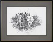 Sale 8420 - Lot 591 - Hugh Sawrey (1919 - 1999) - Andrew Petrie Meeting , Durambie 1995 28 x 39cm