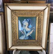 Sale 8730B - Lot 42 - Ornate Metal & Ivory Framed Handpainted Miniature depicting a Lady L:17cm
