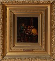 Sale 8804A - Lot 100 - After D. Teniers - Two Works of Pub Scenes 20cm x 16cm in elaborate gilt frames