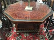 Sale 8868 - Lot 1041 - Late Victorian Inlaid Walnut Occasional Table, the octagonal top in thuya with tunbridge style border, on a birdcage base with gilt...