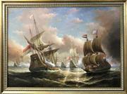 Sale 8958 - Lot 2029 - Artist Unknown Battle of Trafalgar acrylic on canvas, 102 x 135cm (frame)
