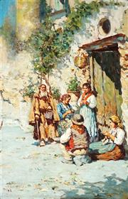 Sale 9021 - Lot 578 - Giovanni Giardello (1887 - 1920) - Town Scene with Villagers 56 x 36 cm (frame: 64 x 44 x 5 cm)