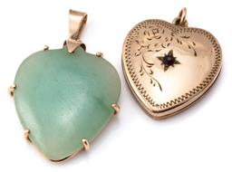 Sale 9124 - Lot 306 - TWO HEART SHAPE PENDANTS; 9ct gold framed dyed green agate, length 35mm, and a 10ct gold lined heart locket set with a paste, length...