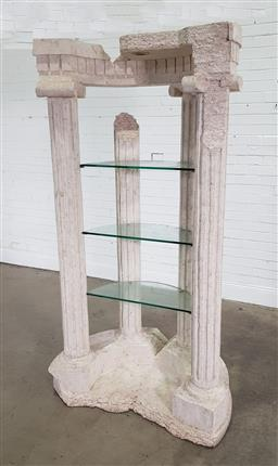 Sale 9191 - Lot 1045 - Grecian style open shelving with 3 pillars (h:214 x w:114 w d:70cm0