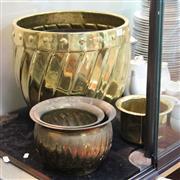 Sale 8351 - Lot 77 - Brass Jardinieres & Pots