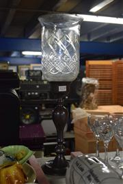Sale 8396 - Lot 64 - Etched Glass Hurricane Lantern (Some Chips to the Rim)