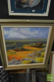 Sale 8537 - Lot 2049 - Robert Wilmot, Kakadu Scene, oil on board, frame size: 77 x 74cm, signed lower right