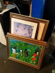 Sale 8627 - Lot 2097 - Group of Assorted Artworks incl: Island Scene Acrylic Paintings, Decorative Prints, Landscape (framed/various sizes) (4)