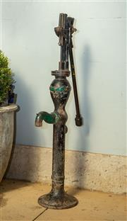 Sale 8745A - Lot 65 - A cast iron water pump, H 122 x W 25 x D 33cm