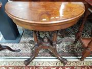 Sale 8831 - Lot 1025 - Victorian Walnut and Inlaid Fold Over Card Table