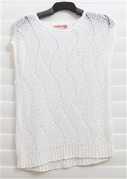 Sale 8902H - Lot 145 - A white sleeveless cable knit top by Cable, Melbourne, size S-M