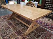 Sale 8912 - Lot 1050 - Natural Oak Stretcher Base Dining Table (210cm)